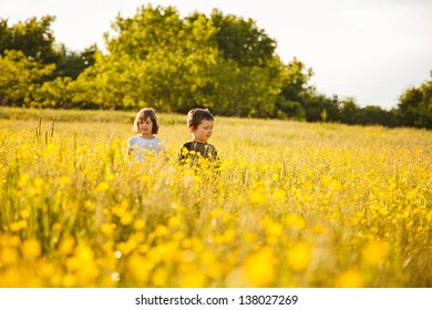 Brother and sister walking in a flower field