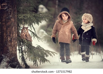 Brother and sister walking in forest in Russia and meeting an owl. Image with selective focus and toning