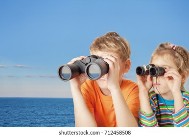 Brother and sister watching through binoculars at sea skyline, collage