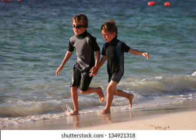 Brothers on Beach