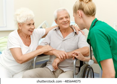 I brought you some great news. Shot of a senior couple getting good news from their doctor with the man sitting in a wheelchair