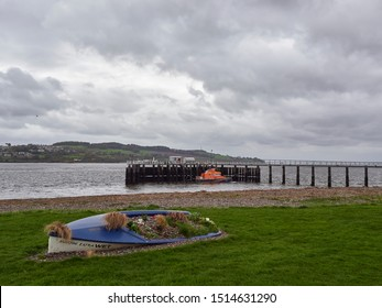 Broughty Ferry, Scotland - 3rd May 2018: Looking over the Decorative Boat Flower Feature on Beach Parade and on to the Trent Class Lifeboat at Broughty Ferry.
