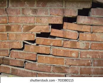 Brouken brick wall.