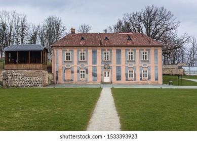 Broumov, Czech Republic - March 24, 2019: Gardens of Benedictine Abbey in Broumov town
