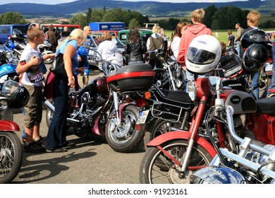 BROUMOW , CZECH REPUBLIC - JULY 24:  Unidentified motorcycle enthusiasts attend the Broumov Chopper Club annual meeting and regional rally on July 24, 2011 in Broumow, Czech Republic.