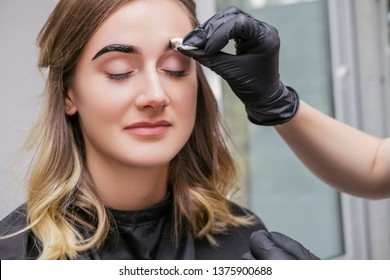Brow and make up artist shaping and coloring eyebrows of her woman client in salon. Procedure in process. Space for text