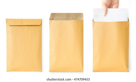 Brown A4 envelope in three conditions , close open and document pull out by real human hand , on the white background