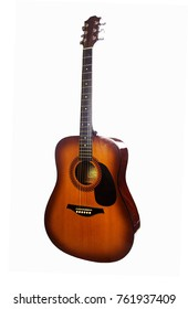 Brown acoustic guitar on a white background (side view)