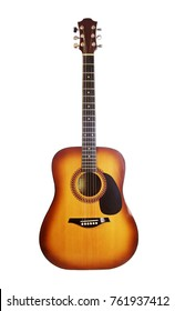 Brown acoustic guitar on a white background (front view)
