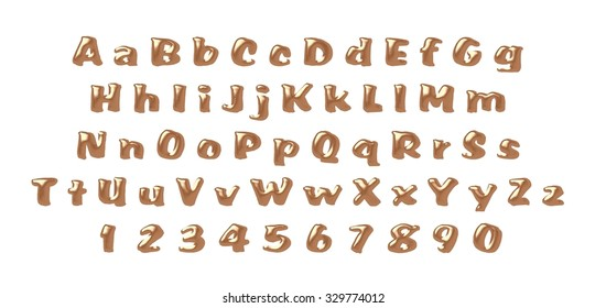 brown alphabet isolated letters background abc colorful shiny