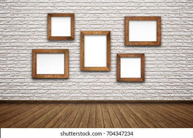 Brown antique frame with golden pattern on Empty interior room with white brick wall. Wooden frame vintage on brick wall white horizontal background in rural room