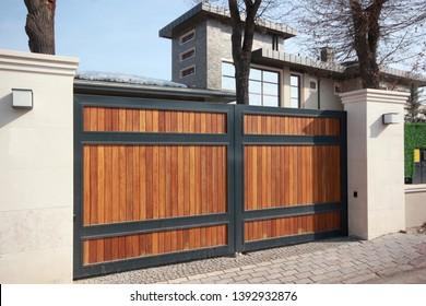 Brown automatic wooden entry door
