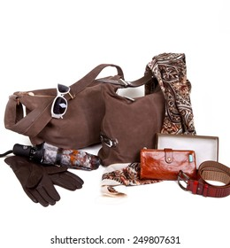 Brown autumn women's accessories on a white background