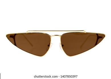 Brown Aviator Triangle wrap around golden frame Sunglasses isolated on white - front view