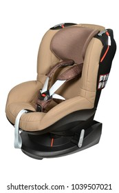 Brown baby car seat with isofix system