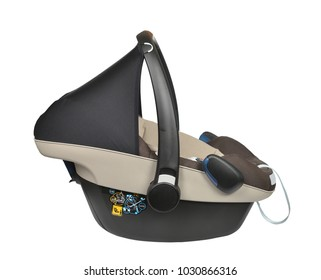 Brown baby car seat isolated