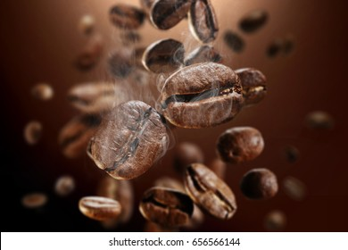 brown background of hot coffee grains in splash