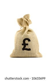 Brown bag with pound sign. Isolated on white