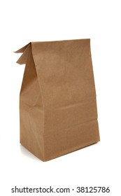 a brown bag for a sack lunch on a white background