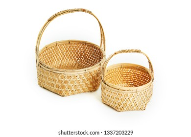 Brown bamboo basket on white background. Empty fruit flower basket. Shopping basket made of bamboo. bamboo basket by handmade.