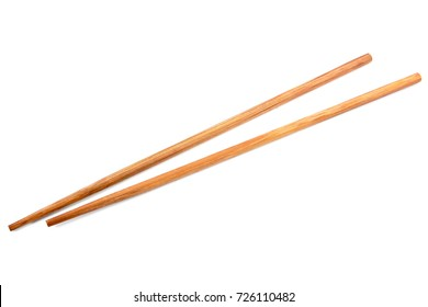 Brown bamboo chopsticks isolated on white background.Chopsticks isolated