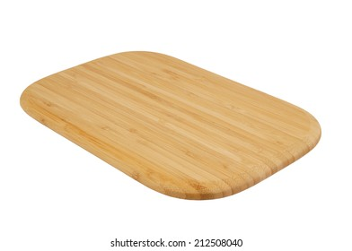 Brown bamboo cutting board isolated on white background
