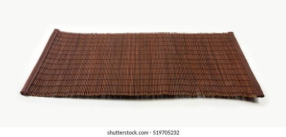 brown bamboo Mat - stand food, close-up, macro