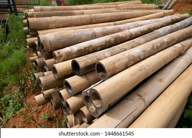 brown bamboo pile prepare for construction building materials.