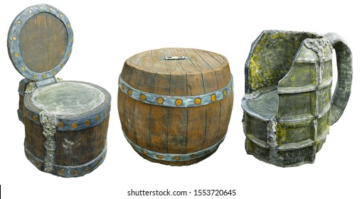 Brown barrel as bar table and vintage bar armchair stylized as beer mug isolated over white background