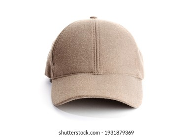 Brown baseball cap isolated on white background. Casual textile cap