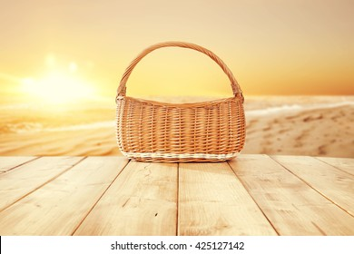 brown basket and sea and beach