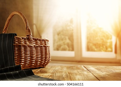 brown basket and window and wooden old table place