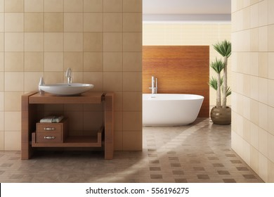 Brown bathroom including bath and sink, 3d render