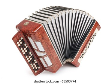 Brown bayan (accordion) on white background