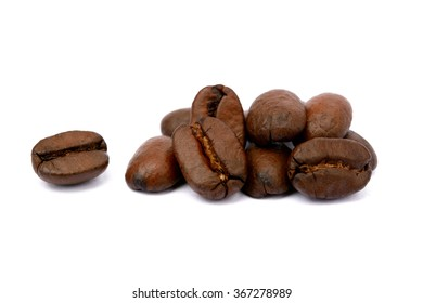 brown beans on white background