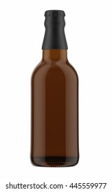 Brown beer bottle with black cap isolated on white background. 3D Mock up for your design.