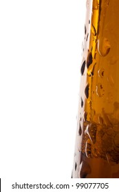 brown beer bottle detail photo, water drops, white background