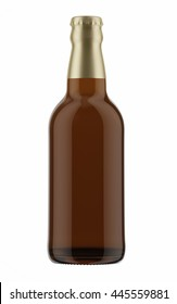 Brown beer bottle with foil cap isolated on white background. 3D Mock up for your design.