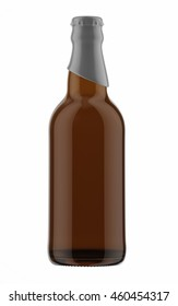 Brown beer bottle with gray cap isolated on white background. 3D Mock up for your design.