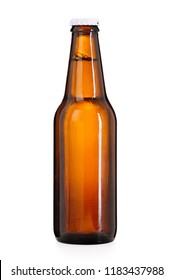 Brown beer bottle isolated on white background, contains clipping path