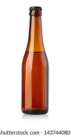 brown beer bottle isolated on white with clipping path