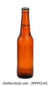 Brown beer bottle, isolated on white