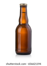 brown beer bottle isolated on white background with clipping path