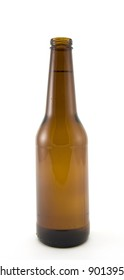 Brown Beer Bottle Isolated on White Background.