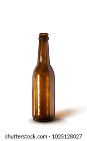 Brown beer bottle Mock-Up isolated on white color background with clipping path.