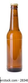 Brown beer bottle on white background