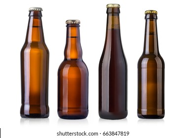 brown beer bottles isolated on white background