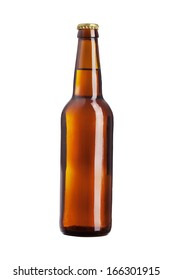 brown beer isolated on white background