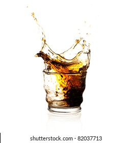 brown beverage splash isolated on a white background