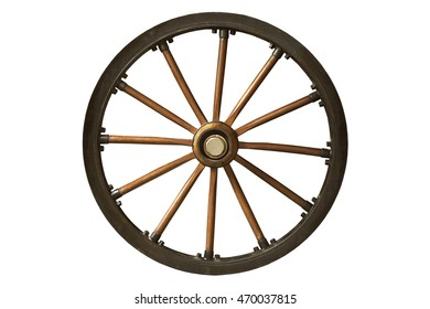 brown and black old wooden wheel isolated on white background